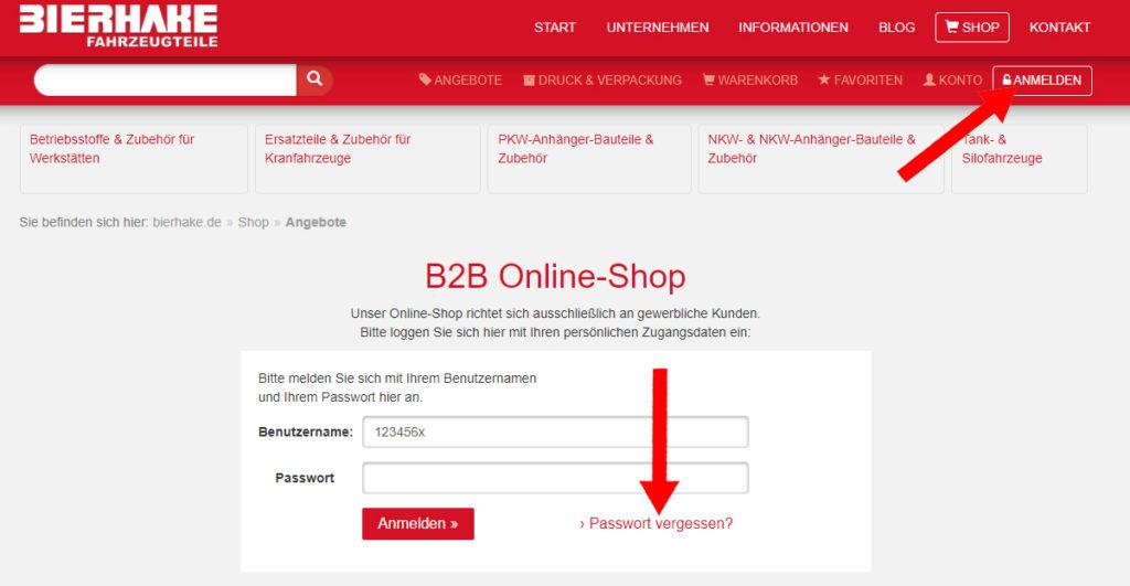 Passwort vergessen, klicken Sie zuerst auf Anmelden und anschließend auf Passwort vergessen.