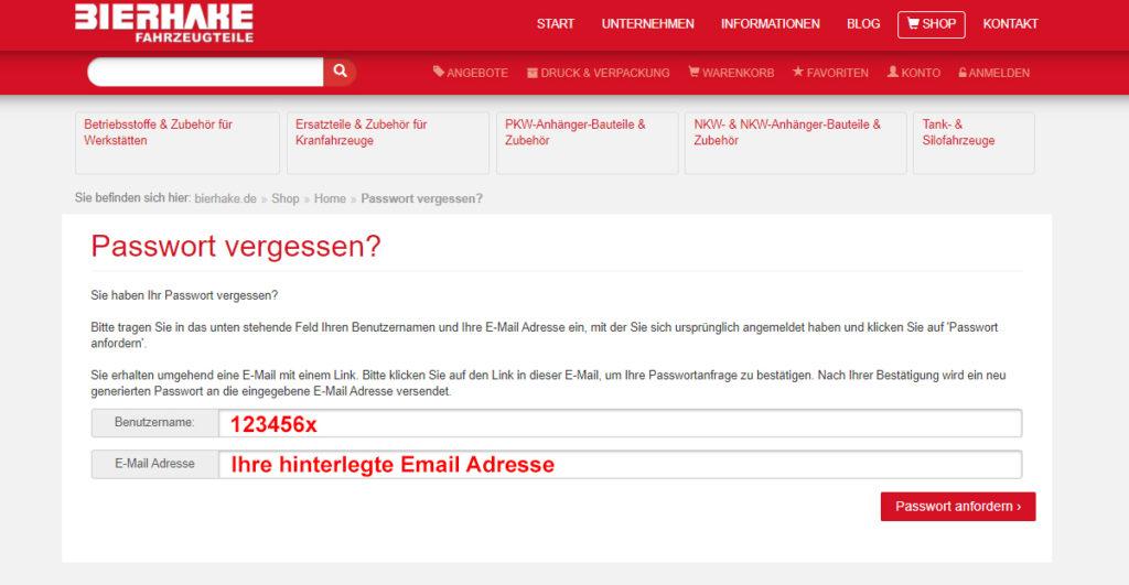 Anschließend geben Sie bitte Ihren Benutzernamen, Ihre hinterlegt Email Adresse ein und gehen zum Schluss auf Passwort Anfordern.